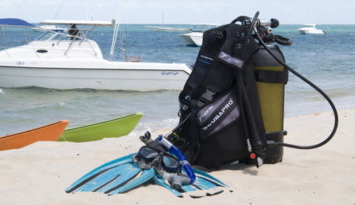scuba-equipment-on-beach